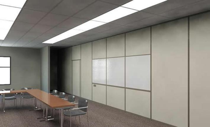 operable partition wall white board finish