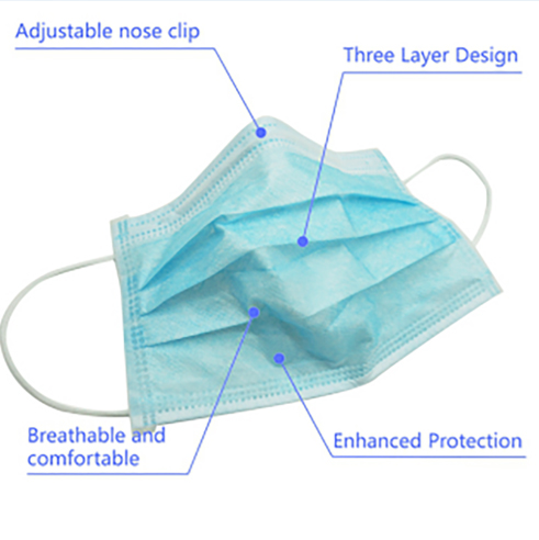 Disposable 3Ply Non Woven Anti Virus Dust Medical Month Face Mask
