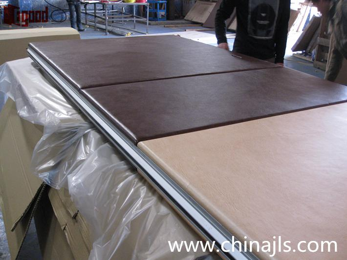 PU artificial leather with padded wrapped acoustic panel